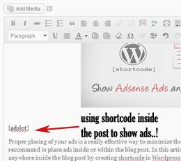show ads inside blog post